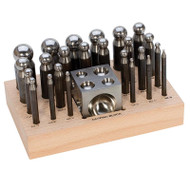 Steel Dapping Set with Wooden Holder