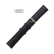 Hadley Roma Genuine Java Lizard Watch Band 18mm Black Long