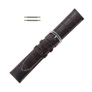 Hadley Roma Alligator Grain Italian Leather Watch Band 22mm Brown