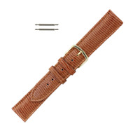 Hadley Roma Lizard Grain Leather Watch Strap 18mm Brown Long