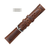 Hadley Roma Brown 20mm Oil Tanned Leather Watch Band Men's Short