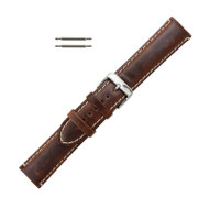 Hadley Roma Brown Leather With Contrast Stitching 20mm Watch Band Long