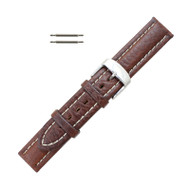 Hadley Roma Breitling Style Watch Band With Contrast Stitching 18mm Brown