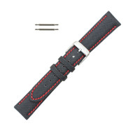 Hadley Roma Sailcloth Watch Strap 18mm Black With Red Stitching