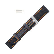 Hadley Roma Genuine Kevlar Watch Strap 18mm Black With Orange Stitching