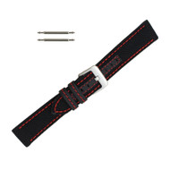 Hadley Roma Genuine Kevlar Watch Strap 20mm Black With Red Stitching