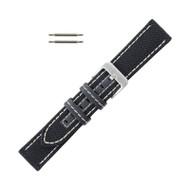 Hadley Roma Genuine Kevlar® Watch Strap 22mm Black With White Stitching