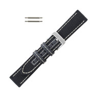 Hadley Roma Genuine Kevlar Watch Strap 24mm Black With White Stitching