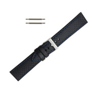 Hadley Roma Genuine Leather Carbon Fiber Style Watch Band 18mm Black With Blue Stitching