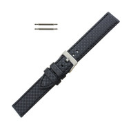 Hadley Roma Genuine Leather Carbon Fiber Style Watch Band 20mm Black