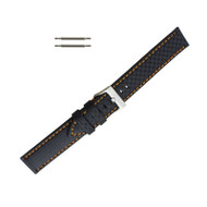 Hadley Roma Genuine Leather Carbon Fiber Style Watch Band 20mm Black With Orange Stitching