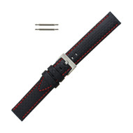 Hadley Roma Genuine Leather Carbon Fiber Style Watch Band 22mm Black With Red Stitching