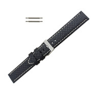 Hadley Roma Genuine Leather Carbon Fiber Style Watch Band 22mm Black With White Stitching