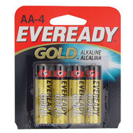 4 pack Eveready Gold AA batteries