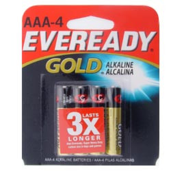 Eveready Gold AAA battery four-pack works in many electronic items