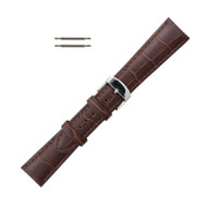 Hadley Roma Leather Watch Band Alligator Grain 22mm Brown Long