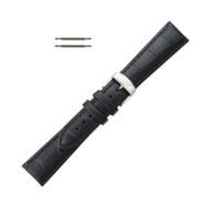 Hadley Roma Leather Watch Band Alligator Grain 24mm Black Long