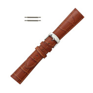 Hadley Roma Leather Watch Band Alligator Grain 24mm Tan Long