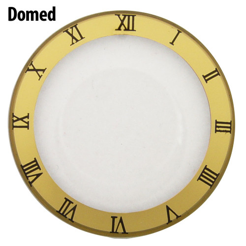 Watch Crystal Domed and Round Mineral Glass Crystal Gold Trim with Black Roman Numerals