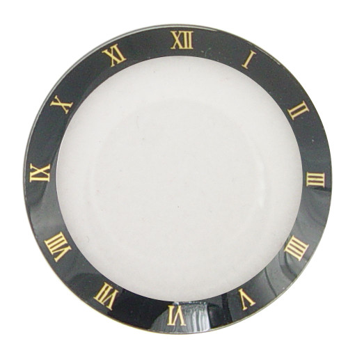 Watch Crystal Flat Round Mineral Glass Crystal Black Trim with Gold Roman Numerals