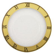 Watch Crystal Flat Round Mineral Glass Crystal Gold Trim with Black Roman Numerals
