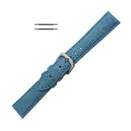 Hadley Roma Genuine Java Lizard Light Blue Watch Band 18mm