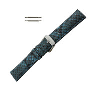 Hadley Roma Genuine Python Watch Strap Blue 16mm