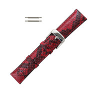 Hadley Roma Genuine Python Watch Strap Red 16mm