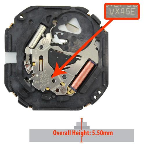 Hattori Japan 3 Hand Retrograde Day and 6:00 date Quartz Watch Movement VX45