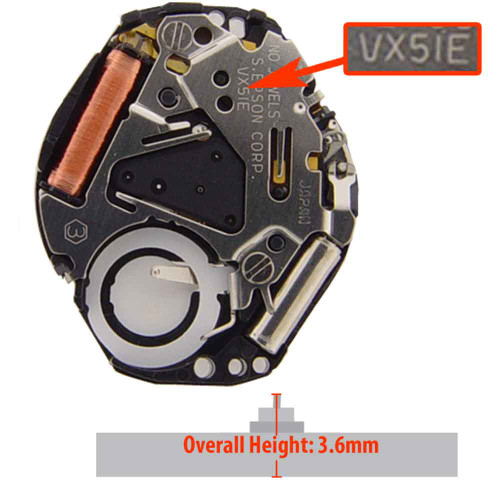 Hattori Japan 3 Hand Quartz Watch Movement VX51 Overall Height 3.6mm