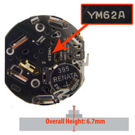 Hattori Japanese YM62 quartz watch movement with date display