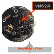 Hattori Japanese YM62 quartz watch movement with date display