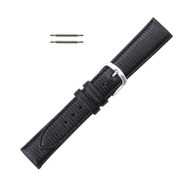 Hadley Roma 18mm Leather Watch Band Lizard Grain Black Ladies Long