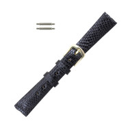 Hadley Roma Genuine Java Lizard Watch Strap 12mm Black Ladies Long