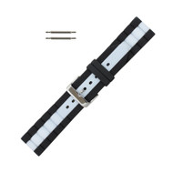 Hadley Roma Silicone Watch Band Diver Style Black With White 22mm