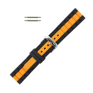 Hadley Roma Silicone Watch Band Diver Style Black With Orange 22mm