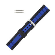 Hadley Roma Silicone Watch Band Diver Style Black With Blue 22mm