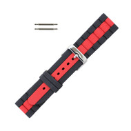 Hadley Roma Silicone Watch Band Diver Style Black With Red 22mm