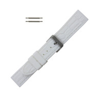 Hadley Roma Gator Grain Silicone Watch Band Diver Style White 20 mm
