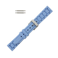 Hadley Roma Link Style Design Silicone Watch Band Blue 18mm