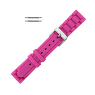 Hadley Roma Link Style Design Silicone Watch Band Hot Pink 18mm