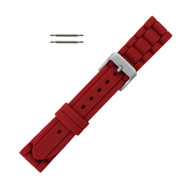 Hadley Roma Link Style Design Silicone Watch Band Red 18mm