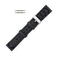 Hadley Roma Link Style Design Silicone Watch Band Black 20mm