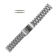 Tri Fold Clasp Metal Watch Band 20mm Silver Tone Stainless Steel
