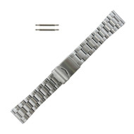 Silver Tone Metal Watch Band with Tri Fold Clasp