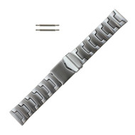 Tri Fold Clasp Style Metal Watch Band in Silver Tone Stainless Steel
