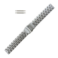 20 mm Silver Tone Stainless Steel Metal Watch Band with Button Clasp