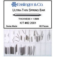 60 pieces 1.00mm single shoulder stainless steel spring bar assortment