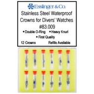 Assortment of stainless steel waterproof crowns for divers watches