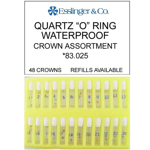 48 pieces waterproof quartz watch crown assortment